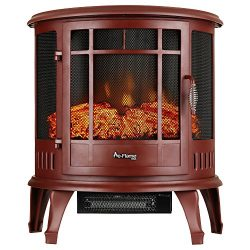 Regal Curved Portable Free Standing Electric Fireplace Stove by e-Flame USA – 25-inches Tall – R ...