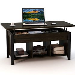 Tribesigns Lift Top Coffee Table with Hidden Storage and Lower Shelf for Living Room (Dark Teak)