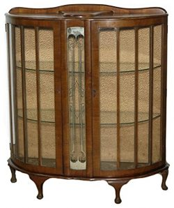 SALE c1930 Antique Walnut Art Deco Barget Curio Display Cabinet