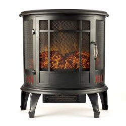 Regal Curved Portable Free Standing Electric Fireplace Stove by e-Flame USA – 25-inches Tall – M ...