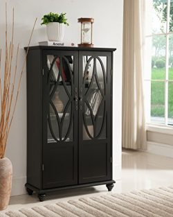 Kings Brand Furniture Curio Bookcase Cabinet with Glass Doors (Black)
