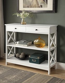 White Finish 3-tier Console Sofa Entry Table with Shelf / Two Drawers