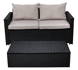 Serta Laguna Outdoor Storage Sofa & Coffee Table – Black Wicker