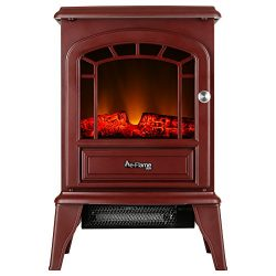Aspen Portable Free Standing Electric Fireplace Stove by e-Flame USA – 23-inches Tall – Rustic R ...