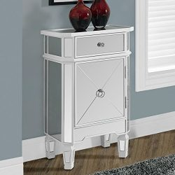 Monarch specialties I 3713, Accent Chest 1 Drawer 1 Cabinet, Mirrored, Brushed White Trim, 29&#8 ...