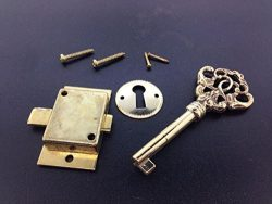 USA Premium Store Fancy Brass Curio Cabinet Front Door key and Lock Set