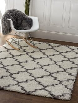 White & Gray Trellis Shag Rug, 5-Feet by 7-Feet 2-Inch, 5×7 Solid & Thick Stain-Res ...