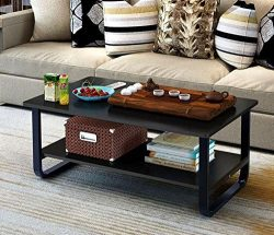 Mordern Large Coffee Table with Lower Storage Shelf for Living Room, 48″ x 24″ (Black)