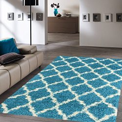 Ottomanson Ultimate Shaggy Collection Moroccan Trellis Design Shag Rug Contemporary Bedroom and  ...