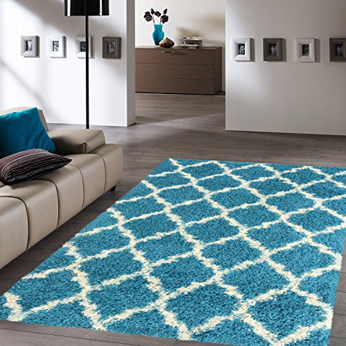 ottomanson ultimate shaggy collection moroccan trellis design shag rug contemporary bedroom and. Black Bedroom Furniture Sets. Home Design Ideas