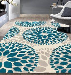 Rugshop Modern Floral Circles Design Area Rug, 5′ x 7′, Blue