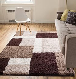 "Shag Cubes Modern 5×7 ( 5′ x 7'2"" ) Area Rug Brown Plush Geometric Blocks ..."