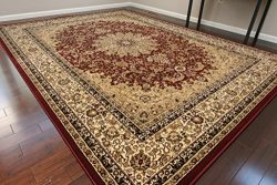 Burgundy Traditional Isfahan Dunes High Density 1 Inch Thick Wool 1.5 Million  Point Persian Are ...