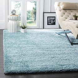 Safavieh Milan Shag Collection SG180-6060 Aqua Blue Square Area Rug (5'1″ Square)