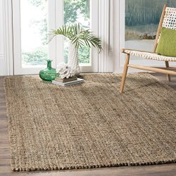 Safavieh Natural Fiber Collection NF447M Hand Woven Natural and Grey Jute Square Area Rug (6&#82 ...