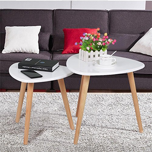 Wood Stacking Tables ~ Yaheetech white gloss wood nesting tables living room sofa