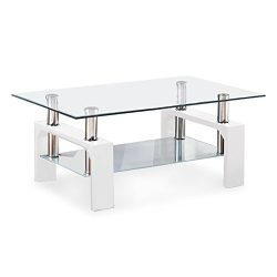VIRREA Rectangular Glass Coffee Table Shelf Wood Living Room Furniture Chrome Base (White)