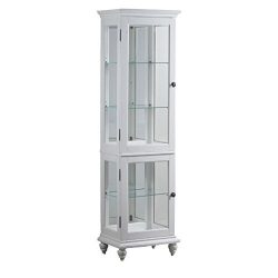 Powell Whitehurst Collection 15A7050 20″ Small Curio with Decorative Molding Three Glass S ...