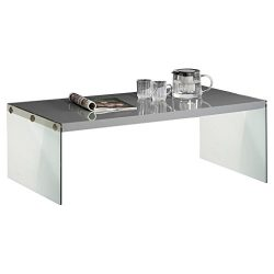 Monarch specialties  I 3292, Coffee Table, Tempered Glass, Glossy Grey , 44″L