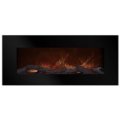 Electric Fireplace Wall Mounted, Color Changing LED Flame and Remote, 50 Inch, By Northwest (Black)