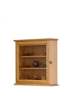 Wall Hanging Curio Cabinet-Oak Hardwood *Made in the USA*