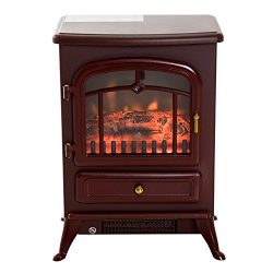 HomCom 16″ 1500W Free Standing Electric Wood Stove Fireplace Heater (Red)
