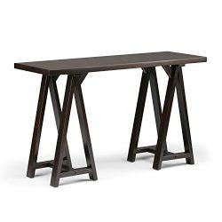 Simpli Home Sawhorse Console Sofa Table, Dark Chestnut Brown