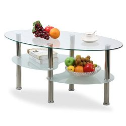 Topeakmart Modern Oval Glass Coffee Table Living Room Round Glass Side End Tables with Metal Leg ...