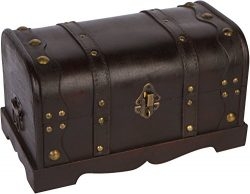12″ Wood Decorative Chest with Brass Accents By Trademark Innovations