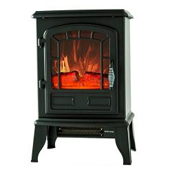 FLAME&SHADE Electric Fireplace Stove Heater, Portable Freestanding Fireplace Space Heater, B ...