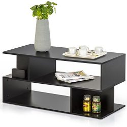 Homury Modern Coffee Table TV Stand Bookcase Bookshelf Black
