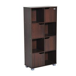 HomCom 8 Cube Bookcase Storage Shelf Organizer – Brown