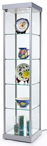 Displays2go Silver Lighted Store Cabinet with Glass Shelves, LED Lighting, Locking Door, Leveler ...