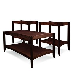 Leick Condo/Apartment Coffee Table & Two End Tables (3 Pack), Chocolate Cherry