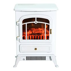 HomCom 16″ 1500W Free Standing Electric Wood Stove Fireplace Heater (White)