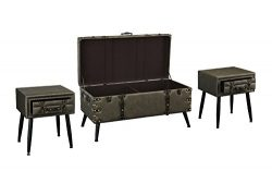 3 Piece Faux Leather Upholstered Coffee and Side Tables Living Room Set (Grey)