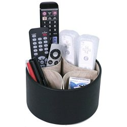 Tech Swiss TS727BK Remote organizer for the living room coffee table – Spinning storage fo ...
