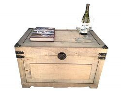 Newport Large Wood Storage Trunk Wooden Treasure Chest – Beige