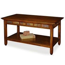 Rustic Slate Rectangular Coffee Table – Rustic Oak Finish