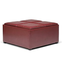 Simpli Home Avalon Coffee Table Storage Ottoman with 4 Serving Trays, Radicchio Red
