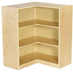 ECR4Kids Birch Corner Classroom Storage Cabinet with Casters, Natural, 36″ H