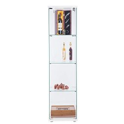 CO-Z Glass Display Show Case Curio Cabinets , Tempered Glasses, Free Standing, 4 Shelves, Lockin ...
