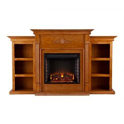 Southern Enterprises Tennyson Electric Fireplace with Bookcase, Glazed Pine Finish