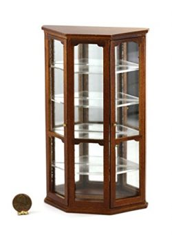 Dollhouse Miniature Mirrored Curio Cabinet in Walnut by Town Square Miniatures