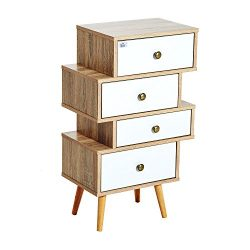 HomCom Trendy Modern Wooden Accent Storage Chest End Table with 4 Offset Drawers