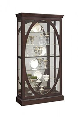 Pulaski P021569 Sable Oval Framed Mirrored Curio Cabinet 43.0″ x 15.1″ x 80.0″