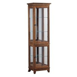Powell Oakdale Collection 15A7036 20″ Small Curio with Recessed Lighting Three Glass Shelv ...