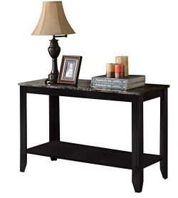 Candace & Basil Console Table – 44″L / Black / Grey Marble Top