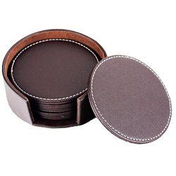 Set of 6 Round Leather Coffee Coasters, 10cm