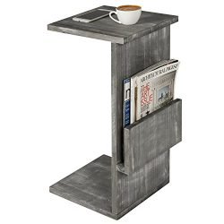 Gray Whitewashed Wood Sofa Side Table with Magazine Holder Rack, Under-the-Couch Sliding Tray
